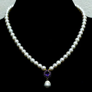 """NATURAL WHITE BAROQUE PEARL & PURPLE AMETHYST NECKLACE 19"""" 925 STERLING SILVER"""