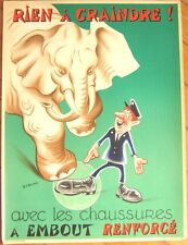 SNCF/French Railroad Safety Poster - Elephant Stepping on Foot, Artist-Signed
