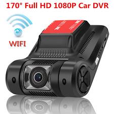"Car Dash Cam DVR Video Recorder 2.45"" LCD FHD 1080P 170° Wide Angle Camera WiFi"