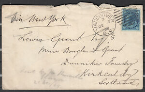 Canada Scott #70 Cover Dec 3, 1898 Vancouver via NY to Kirkcaldy Scotland