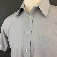 Christian Dior Monsieur USA Short Sleeve Gray Striped Button Up Shirt Men's 16 L