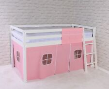 Shorty Mid Sleeper Cabin Bed loft Bunk Tent Girls Pink New White Frame 2FT 6""