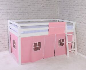 """Shorty Cabin Bed Mid Sleeper loft Bunk Tent Girls Pink New White Frame 2FT 6"""""""
