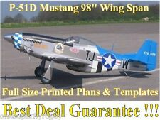 """P-51D Mustang 98"""" WS Giant Scale RC Airplane Full Size PRINTED Plans & Templates"""