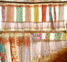 Shabby Chic Victorian Curtain Valance vintage Rosette Pink Ivory White Country