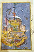 Noah's Ark Mughal Miniature Painting Handmade Miskin Akbar Moghul Ethnic Artwork