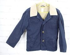 Gymboree Twill Denim Barn Coat Jacket Fleece Lined Boys XS 3-4 Navy Fall Spring