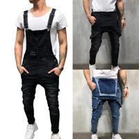 Men's Suspenders Denim Bib Overalls Fashion Ripped Jeans Slim Jumpsuit Pockets