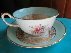 HAMMERSLEY BONE CHINA, ENGLAND, PALE AQUA WITH FLORAL/GOLD CUP & SAUCER SET -VGC