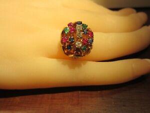 Beautiful Multi-Precious Stone 14K Gold Tulip Ring SZ 5 1/2
