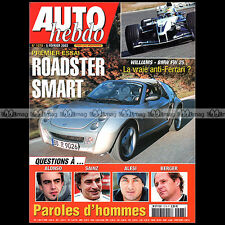 AUTO HEBDO N°1378-b FERNANDO ALONSO CARLOS SAINZ GERHARD BERGER SMART ROADSTER