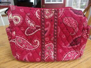 "Vera Bradley Mesa Red Paisley ""On the Go Bag"" Crossbody Adjustable Shoulder Bag"
