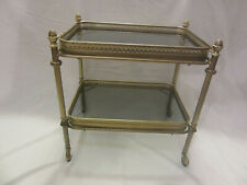 vintage rolling table bar server Art Deco Maison Bagues 1970s rare brass glass