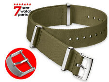 For SEIKO Watch Canvas Nylon ARMY GREEN Strap Band Buckle Clasp Solar 5 Sport