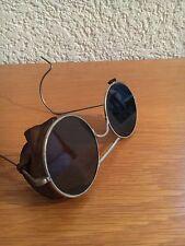 Oldtimer Fahrer Fliegerbrille WK2  mit Leder und Original Etui Blech Federbügel