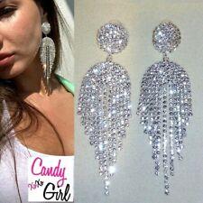 Beautiful Silver Crystal Rhinestone Tassel Drop Evening Wedding Fashion Earrings