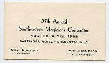 Vintage 1958 Southeastern Magicians Convention Business Card Charlotte Nc Magic