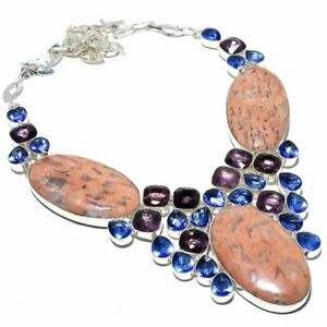 """Red Aventurine, Blue Topaz 925 Sterling Silver Jewelry Necklace 16-18"""" LN-1960_R"""
