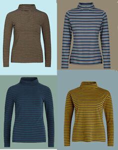 Seasalt Women Turtle Neck Organic Cotton Long Sleeve Striped T shirt Top Blouse
