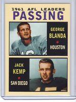 George Blanda / Jack Kemp '61 AFL Passing Leaders rare MC Glory Days #2