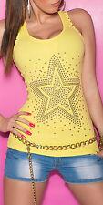 Sexy Tank Studs Star Rhinestone Top Shirt NeckTop LongTop KOUCLA 11 Colors