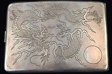 ANTIQUE CHINA EXPORT/ENGLAND IMPORT DRAGON SILVER CIGARETTE CASE