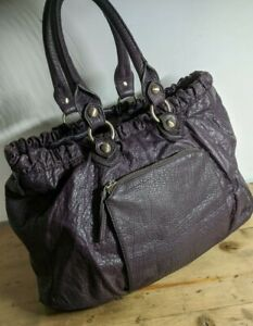 WHISTLES Large  16 X 8 X 12 Leather 💜Purple💜 HOBO Bag. 'HOLDALL'