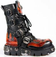 NEW ROCK 107-S1 RED SKULL DEVIL METALLIC BLACK LEATHER NEWROCK BOOT BIKER BOOTS