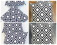 2 x Black & White Cushion Cover Velvet 45 x 45cm Square Soft Furnishing Sofa Bed