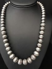 Vintage Native American Sterling Silver Navajo Pearls Bead Necklace  20 Inches