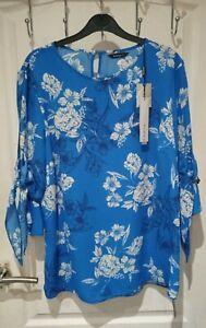 Bnwt Roman Originals Blue Floral Top Size 16