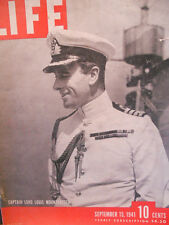 WWII Life Magazine Sept. 15 1941 Lord Mountbatten, Aircraft Carriers,