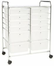 NEW 12 Drawer Chrome Organizer Cart Plastic Storage Bins Rolling Office Cart New