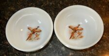 Vintage Milk Glass Chili Bowls With Ring Necked Pheasant(2) VGC~Fast Shipping!