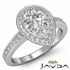 Genuine Pear Shape Diamond Engagement Ring EGL E Color SI1 14k White Gold 1.39ct
