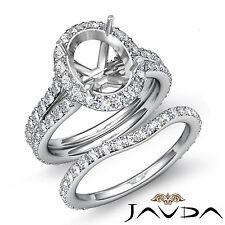 Oval Halo Diamond Semi Mount Engagement Wedding Ring Bridal Set Platinum 950 1.8
