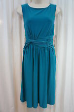 Jones New York Dress Sz 8 Teal Bliss Ruched Sabrina Neckline Cocktail Jersey
