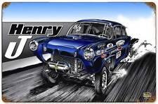 Hot Rod Drag Race Car Strip Henry J Metal Sign Man Cave Garage Body Shop SLP035