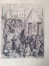 Gustave Dore 1872 antiguo de impresión, Billingsgate de aterrizaje de los peces, Londres, Inglaterra