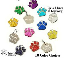 Glitter Paw Print Pet Id Tag Custom Engraved Dog Cat Personalized Animal Quality
