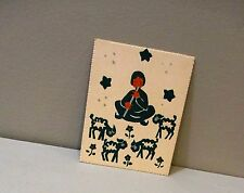 Vtg Christmas Card Art Painting Not Print Shepherd Play Flute Sheep Hand Painted