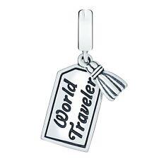Genuine, CHAMILIA 925 Sterling Silver,  WORLD TRAVELER Bead Charm Holiday Travel
