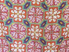 """Ginnie Johansen Cotton Floral 33"""" Square Scarf Japan Pink Purple Green 1990"""