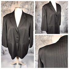 Ladies Grey Pinstripe Jacket Blazer Size 20 ROSE Smart Work Office Cruise Lined