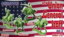 CHINTOYS cht013 ACW UNION GENERAL STAFF #2 MOUNTED. CIVIL WAR. 1/32 SCALE. c60mm