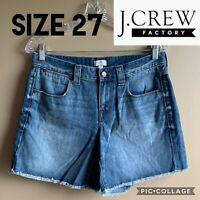 J.Crew Womens Shorts C6013 Frayed Hem Light Wash Denim Jean Blue Mid Rise Sz 27