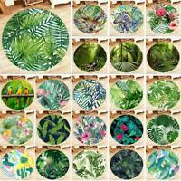 Tropical Jungle Green Leaf Yoga Mat Bedroom Floor Round Carpet Decor Area Rugs