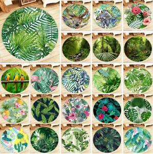 Tropical Green Leaf Animal Yoga Mat Bedroom Floor Round Carpet Decor Area Rugs