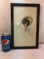 vtg Victorian Woman In a HAT Framed Original Watercolor Signed S. E. T.