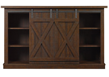 Rustic TV Stand 60 Inch Entertainment Center Sliding Barn Doors Vintage Credenza